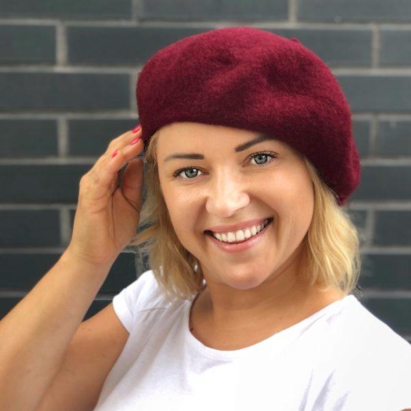 burgundy beret